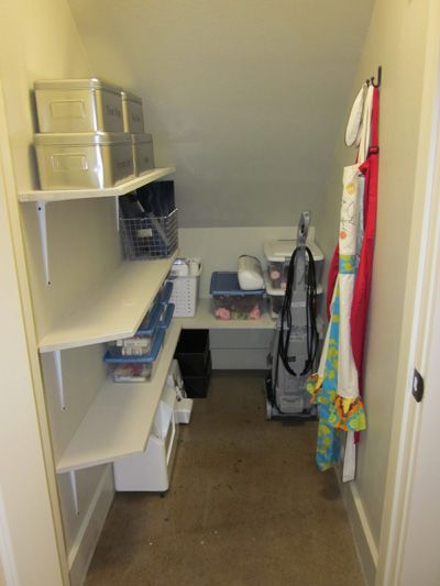 small storage closet - need to do this under our stairs. Christmas stuff and linens would be perfect in here.