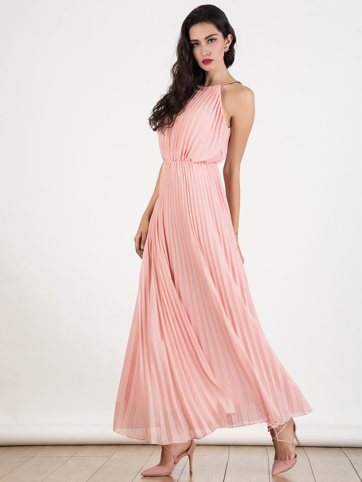 Peach Pink Cut Away Pleated Chiffon Maxi Dress
