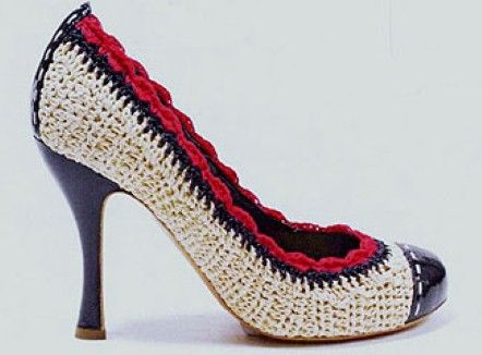 Cream/navy/red crochet round-toe high-heel shoes, £320; Marc Jacobs at net-a-porter.com - Fashion Galleries - Telegraph