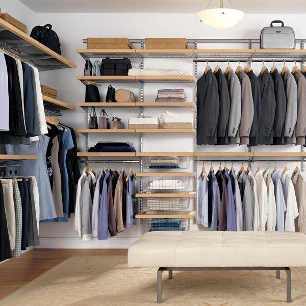 Birch And Platinum Elfa Decor Walk In Closet Storage Storageinspiration Closetinspiration