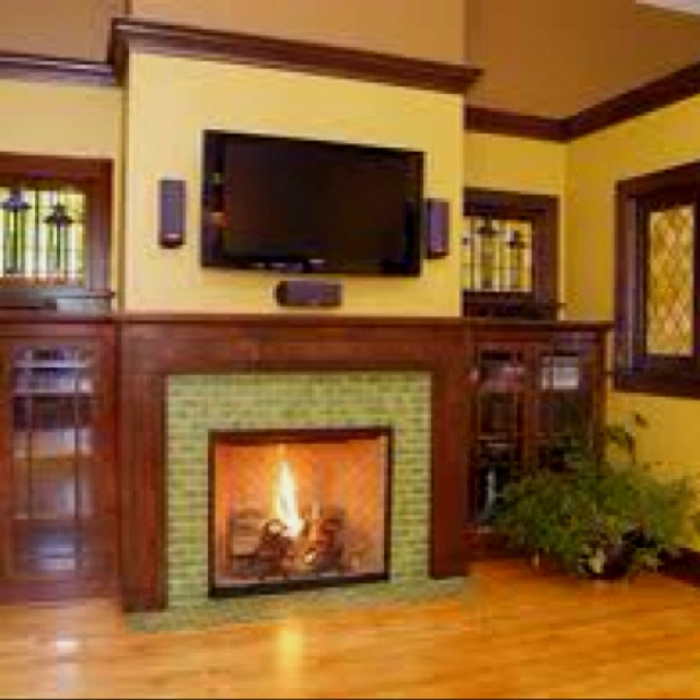 63 best art and craft style fireplaces images on pinterest for Craftsman fireplaces photos