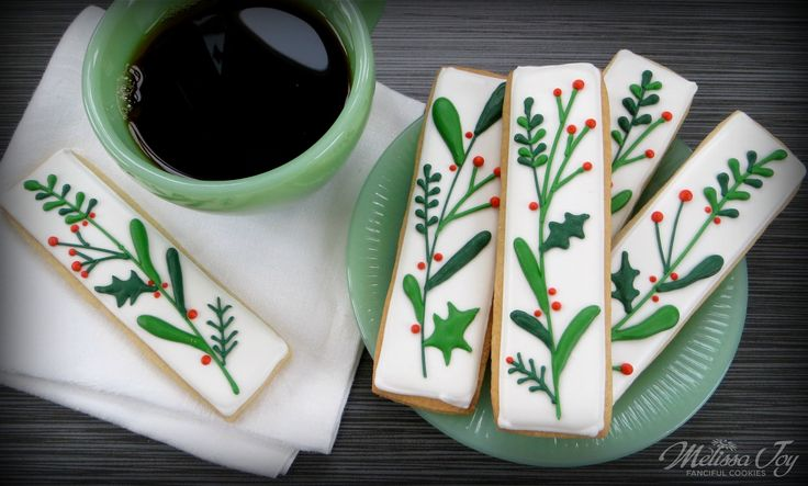 Christmas Holly Cookie Coffee Dunkers by Melissa Joy