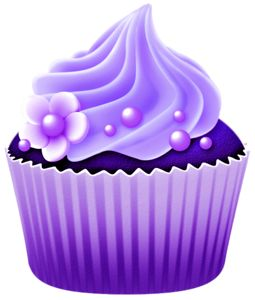 Dibujos. Clipart. Digi stamp - Vector Purple Cupcake