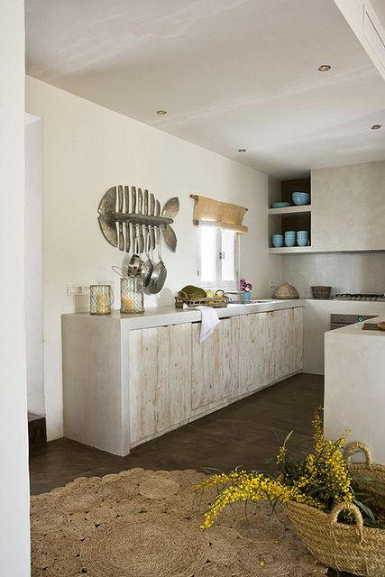 rough kitchen cupboards with conviction: formentera by the style files Love the fish too.