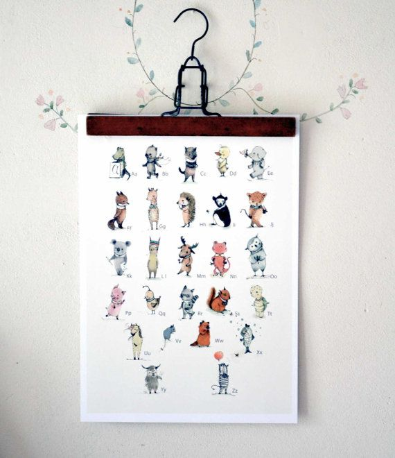 ABC Animals Alphabet Poster Learning A3 size by holli on Etsy, $35.00 found via http://rosylittlethings.typepad.com/