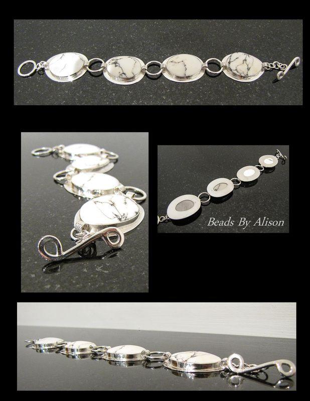 Datolite sterling silver bezel set linked bracelet. Cabochon by Bob Wright, Silver by Beads By Alison. Gemstones & Cabochons - Beads By Alison