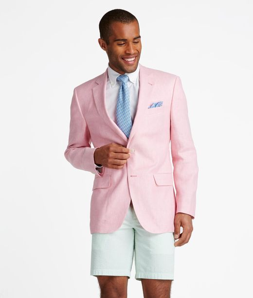 Mens Pink Linen Blazer Hardon Clothes