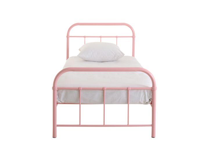 lit 90x190 structure, pietement et sommier en acier laque coloris rose. vendu sans matelas
