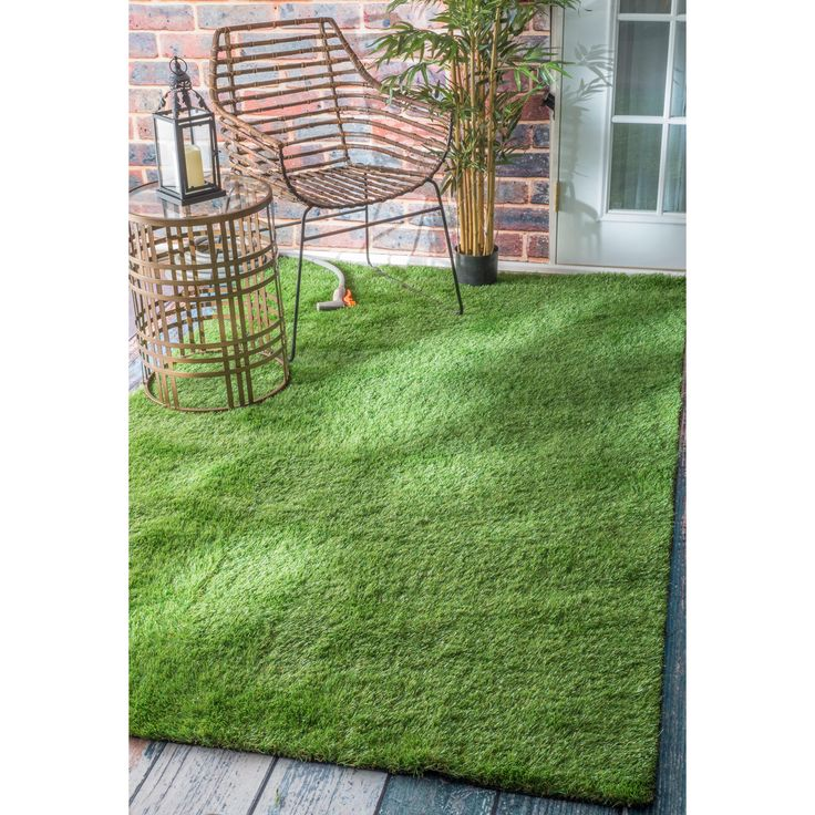 Patio Grass Rug: NuLOOM Green Artificial Grass Outdoor Lawn Turf Patio Area