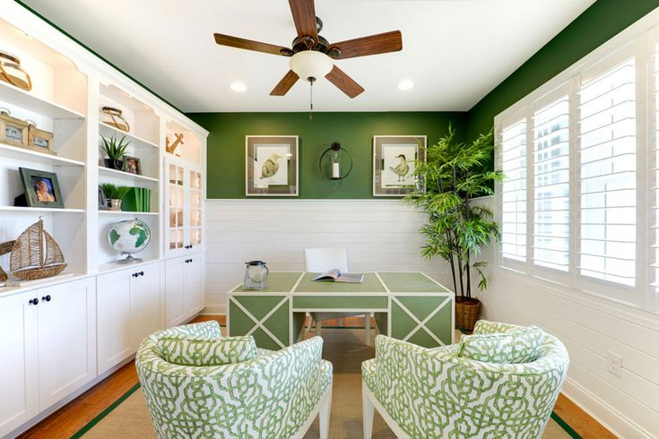Start Work Home With These Good Colors For Home Office. Loving the tropical feel of this office. There is no better way to relax than to be surrounded by extensive 'greenery'. Green offices are perfect for stressful jobs, or such that involve anxiety, short deadlines, and a great amount of responsibility.