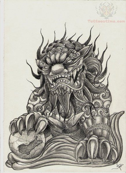 foo-dog-drawing-tattoo.jpg (436×600) | Lion Images ...
