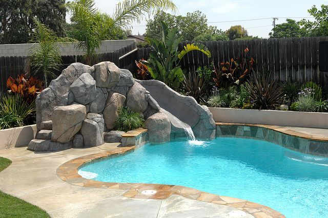 Rock Slide Pool Backyard Pool Landscaping Pool Landscaping Backyard Pool