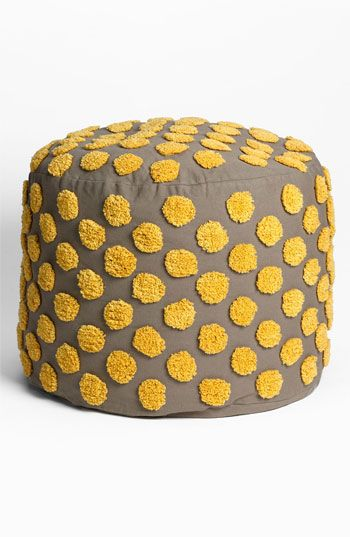 FUN!! - spotted ottoman :: love the gray and yellow palette