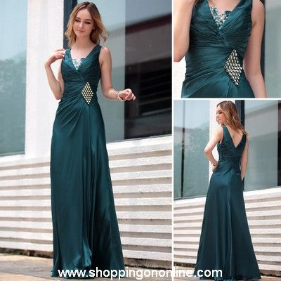 Dark Green Evening Gown - Ruffle V-Neck $174.00 (was $207) Click here to see more details http://shoppingononline.com #DarkGreenEveningGown #DarkGreenEveningDress #DarkGreenDress #CustomMadeDress
