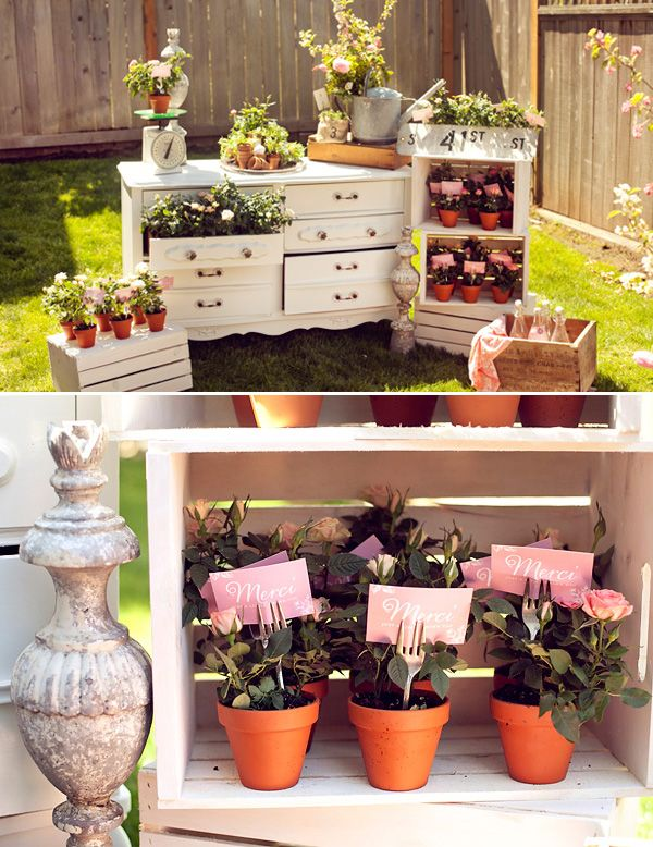 In full bloom a french baby shower gardens plants for Baby full month decoration ideas