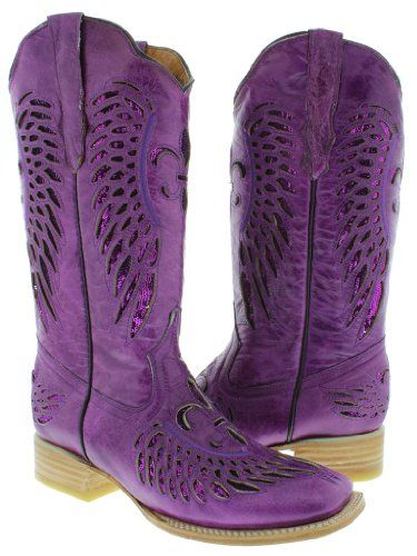 Cowboy Professional  Womens Wings with Flower Purple Leather Wide Cowboy Boots with Purple Sequin Size 5 ** Click on the image for additional details.(This is an Amazon affiliate link)