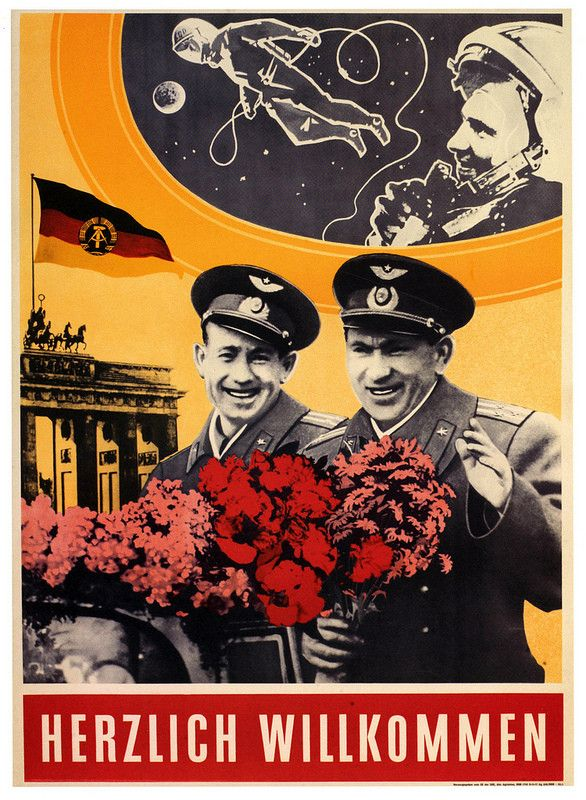 East Germany (GDR) poster welcoming two Soviet Voshod-2 cosmonauts, 1961