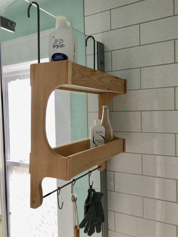 Shower Caddy Cedar Wood Double Shelf Rustic Style Etsy Shower Storage Hanging Shower Caddy Shower Caddy