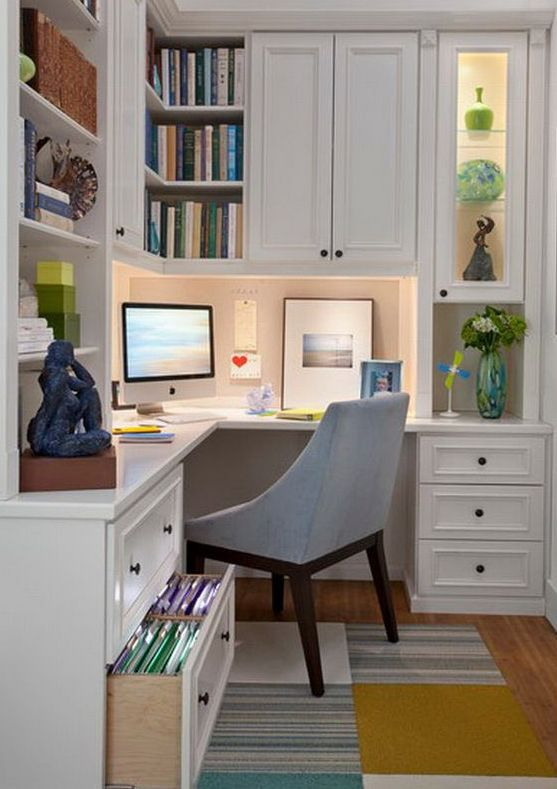 white home office design