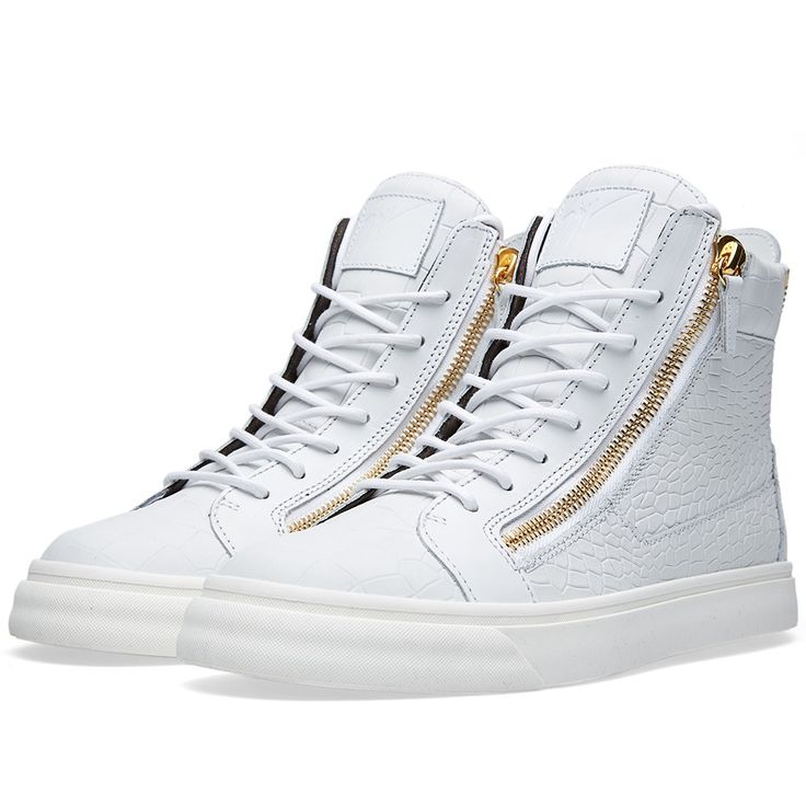 giuseppe zanotti trainers all white croc  with gold zips