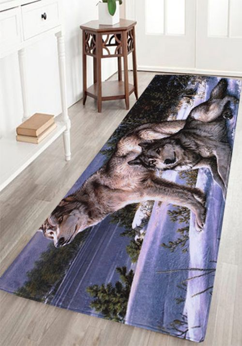 Coral Fleece Wolf Animal Large Area Rug Large Area Rugshome Decor