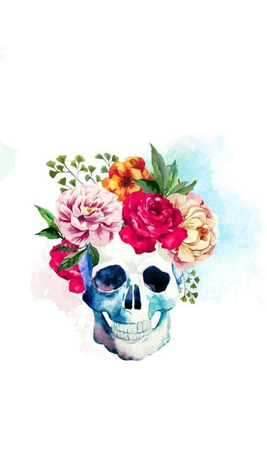 Watercolor skull
