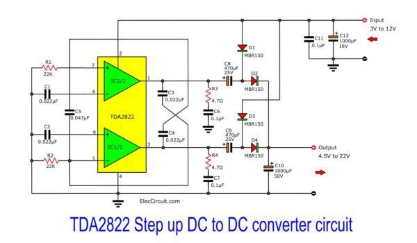 step up converter circuit using tda2822 eleccircuit com simple led electronic circuits circuit diagram for 12 volt to 7 volt