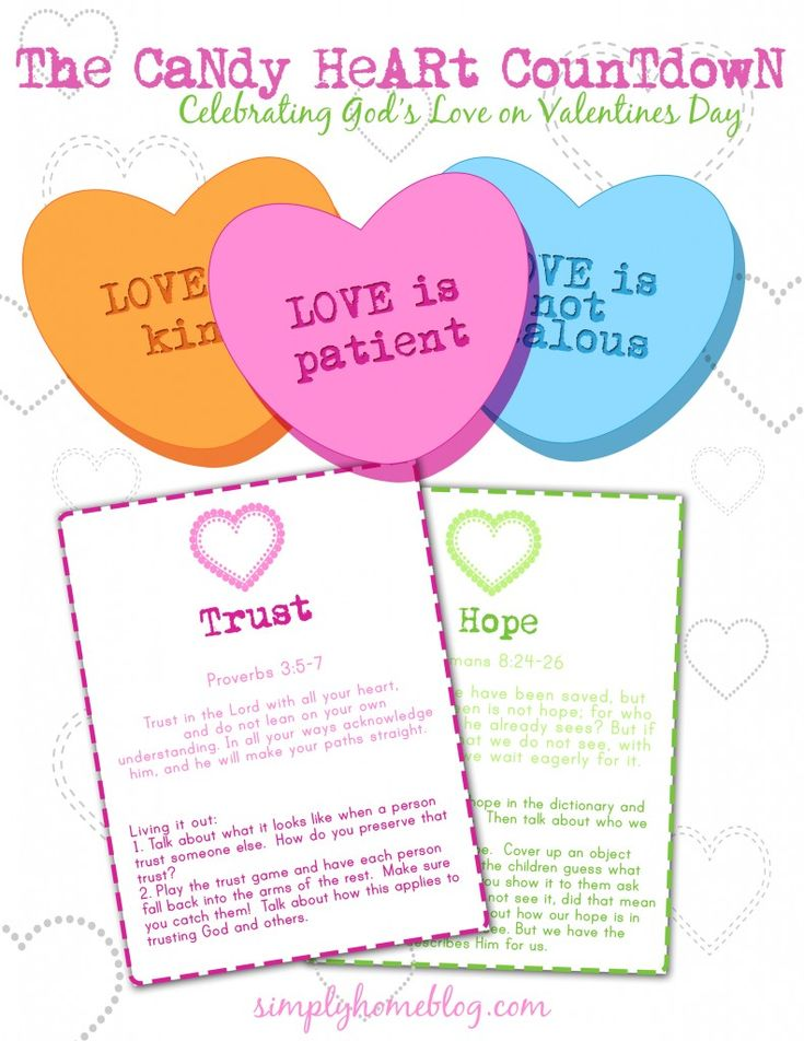 Valentine's candy heart countdown with scriptures (16)! FREE  Via: www.simplyhomeblog.com