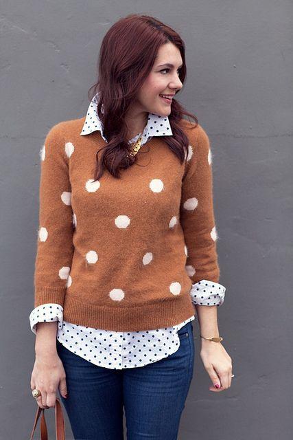 Big polka dots over little polka dots.