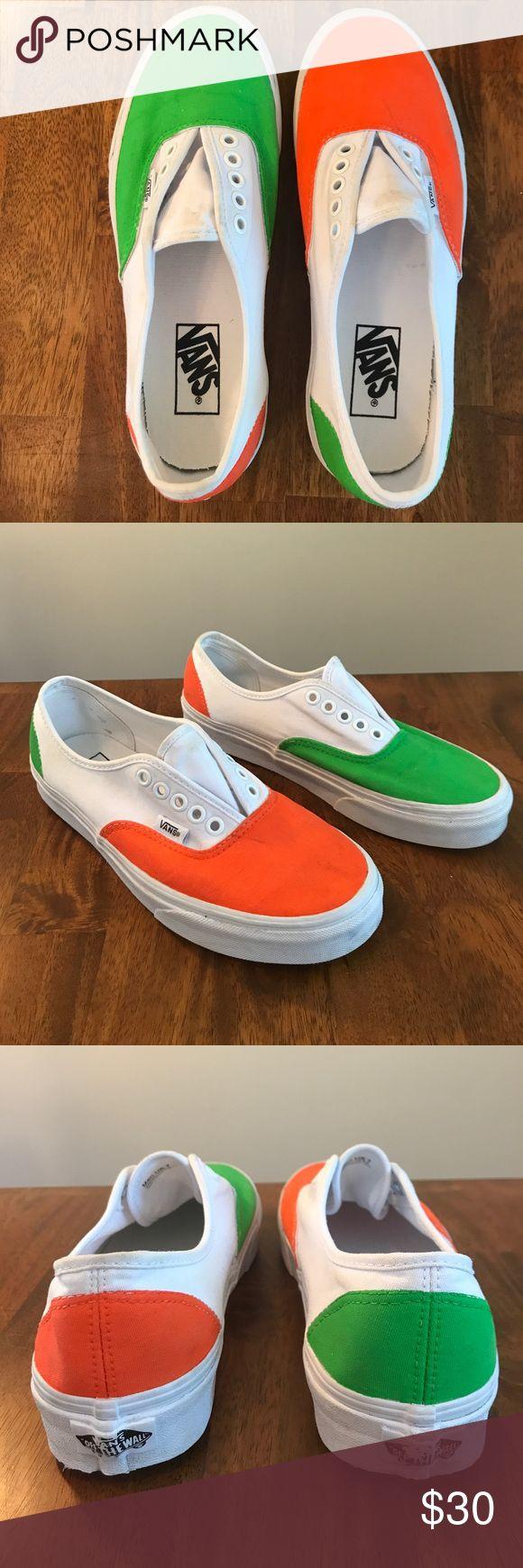 Vans tb4r white orange yellow mens/7 womens/8.5 Need some cleaning, alternating orange/green panels Vans Shoes Sneakers