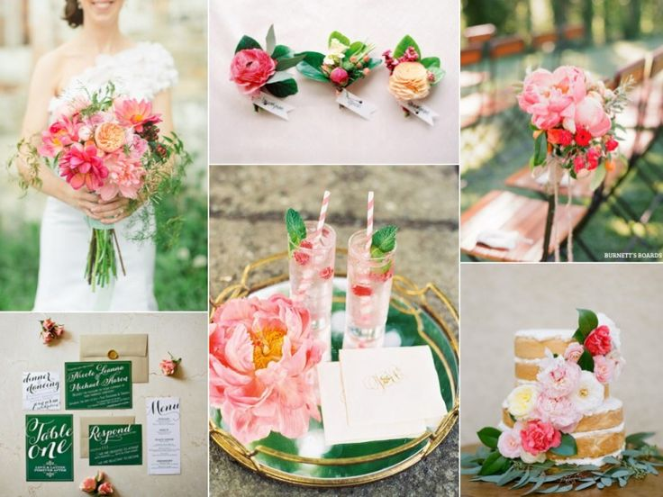 Inspiração de casamento em Pink e verde esmeralda - Pink peony and emerald green wedding inspiration board - burnettsboards.com