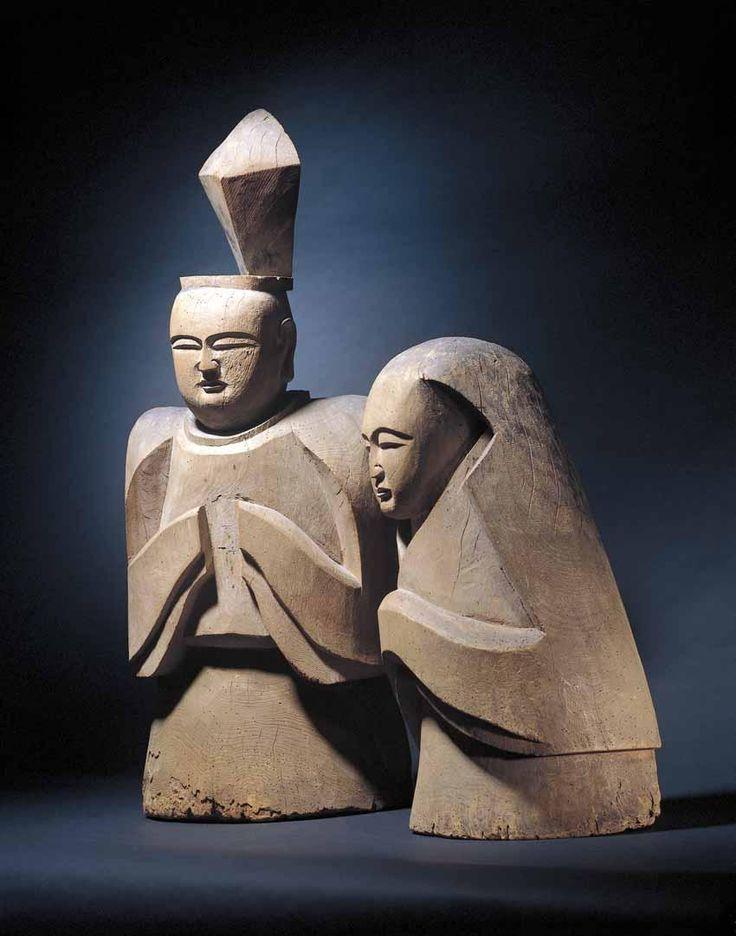 Shinto Kami (Gods) - Male and Female. Carved Wood. Kamakura Period, Circa 1185-1333.