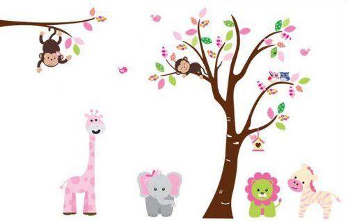 Fungoo large colorful tree & jungle animals wall sticker nursery bedroom wall art decor Elephant/Monkeys/Giraffe/Loin/Owls/zebra Kids room removable decal baby bedroom wall art by Fun goo, http://www.amazon.co.uk/dp/B00DBBX7JG/ref=cm_sw_r_pi_dp_WL-.rb1AV17QW