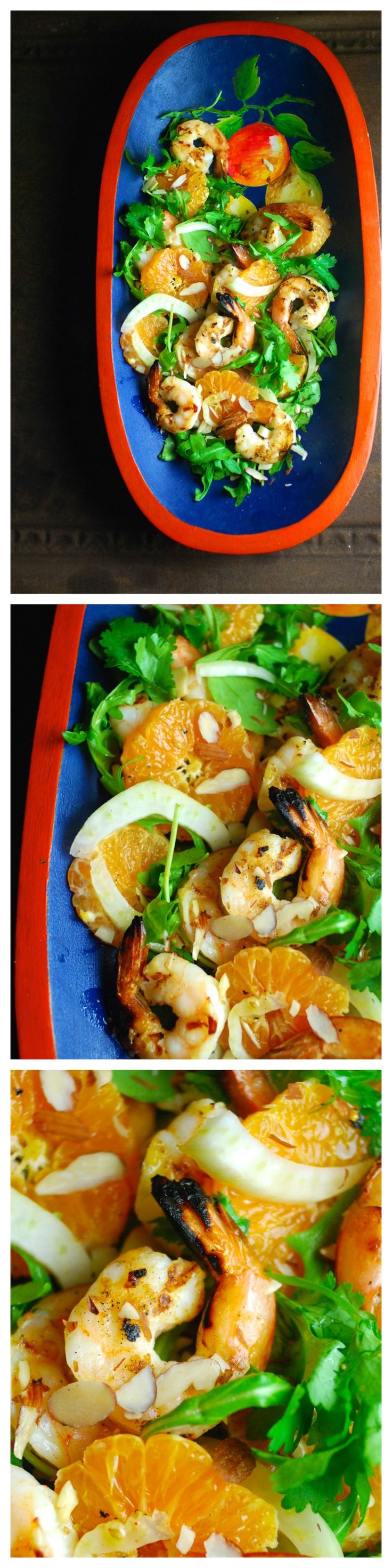 Healthy, delicious and easy! Grilled Shrimp, Citrus and Fennel Salad with Arugula and Almonds. Vinaigrette is naturally sweetened with a little orange juice. Paleo, gluten free, and Whole30 compliant.
