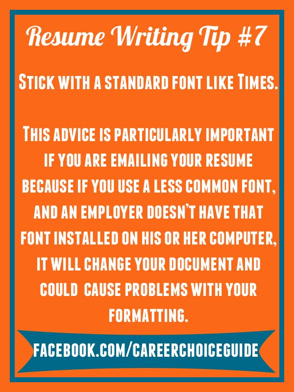 31 best Quick Job Search Tips from Career Choice Guide images on - standard resume font