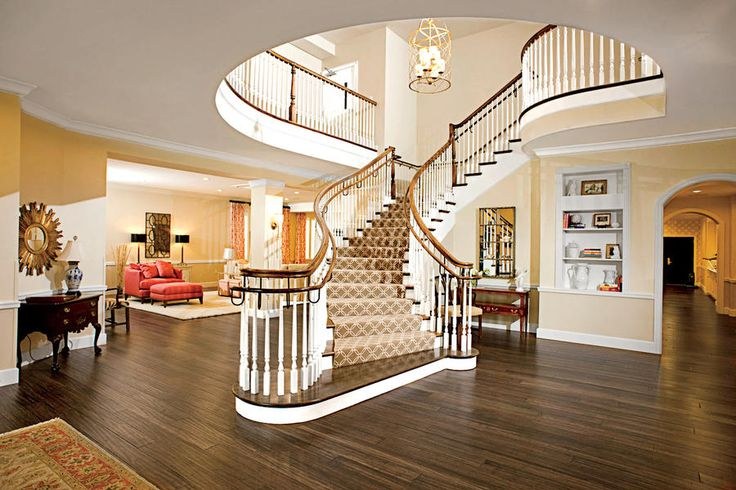 """Flying staircase at Chi Omega Sorority, University of Missouri. """"The South's Most Beautiful Sorority Houses,"""" Southern Living Magazine."""