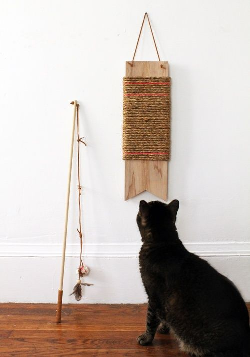 DIY cat scratcher. Yes, there can be pretty cat toys! (make for mom?)