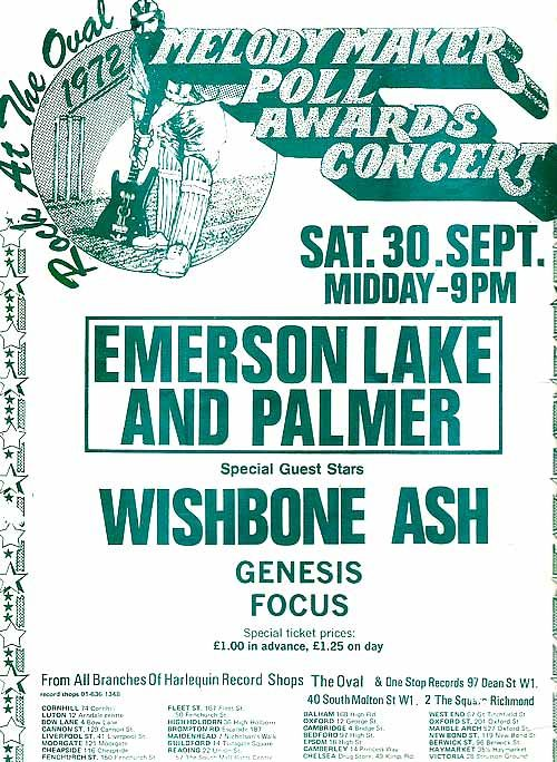 Wishbone Ash Concert Poster | Melody Maker Poll Awards Concert