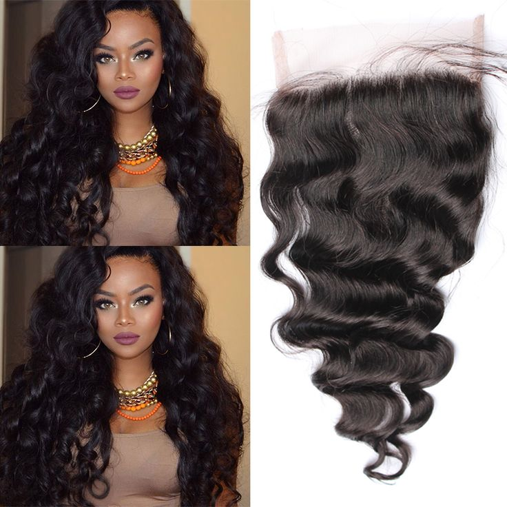 Lace Closure Brazilian Loose Curly Wave Closure Free Middle Three Part 5x5 Lace Closure With Baby Hair Bleached Knots Wig Silk