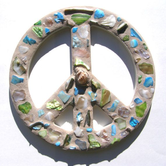 12 Inch Blue Green Shell Mosaic Peace Sign  by breakitupdesigns