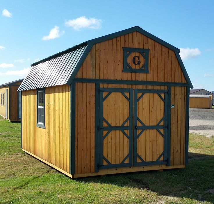 10x16 Lofted Barn Green Metal Roof With Matching Trim