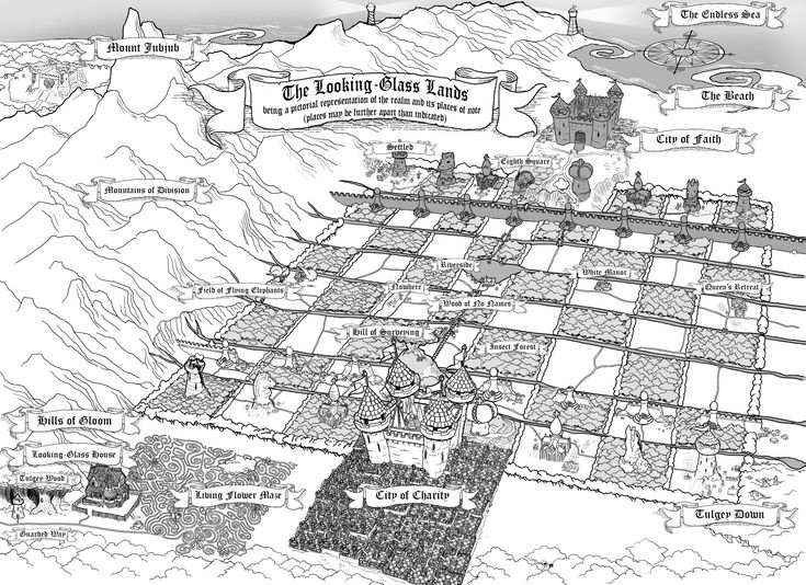 A map of the Looking Glass lands. Where's Where in Wonderland | VoVatia