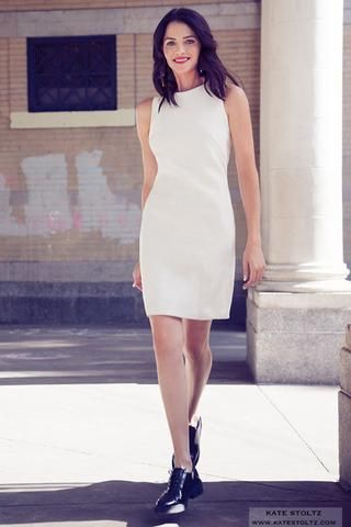 Cream Brocade Shift Dress