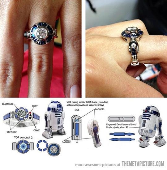 Star Wars Custom R2-D2 Engagement Ring: great concept for geeks in love (hey, Valentine's Day is just around the corner...)
