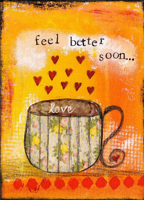 Feel Better Soon 5x7 Blank Greeting Card with by KathleenTennant, $5.00