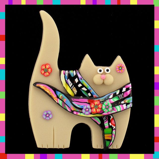 Cream Kitty Cat & Stroppel Cane Scarf By artsandcats
