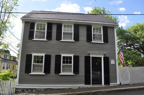 Houses with slate grey siding and blue shutters 27 - Grey and white house ...