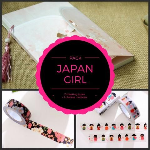 PACK - Japan Girl - 2 masking tape + 1 notebook