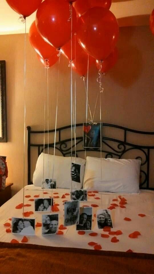 Got this idea from pinterest and did it for my husband to surprise him for Valentine's...he totally loved it!!!! He was so happy with all our pictures and remembering all the good times we have spent together. More: