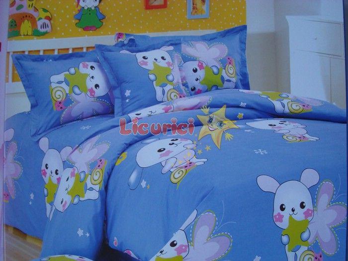 Lenjerie de pat pentru copii cu diverse imprimeuri Ambalare: 3 bucati /set; Comanda minima: 1 set  Pret :100 Lei Pretul nu include taxele de transport.